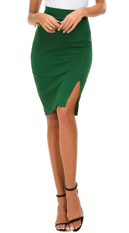 Urban CoCo Women's Side Slit Elastic Waist Bodycon Skirt
