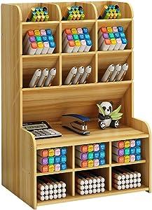Wooden Desk Organizer, Large Capacity DIY Pen Holder Storage Box Desktop Stationary Storage Rack, Pen Organizer Caddies for Office, Home and School Supplies (B15-Cherry Color)