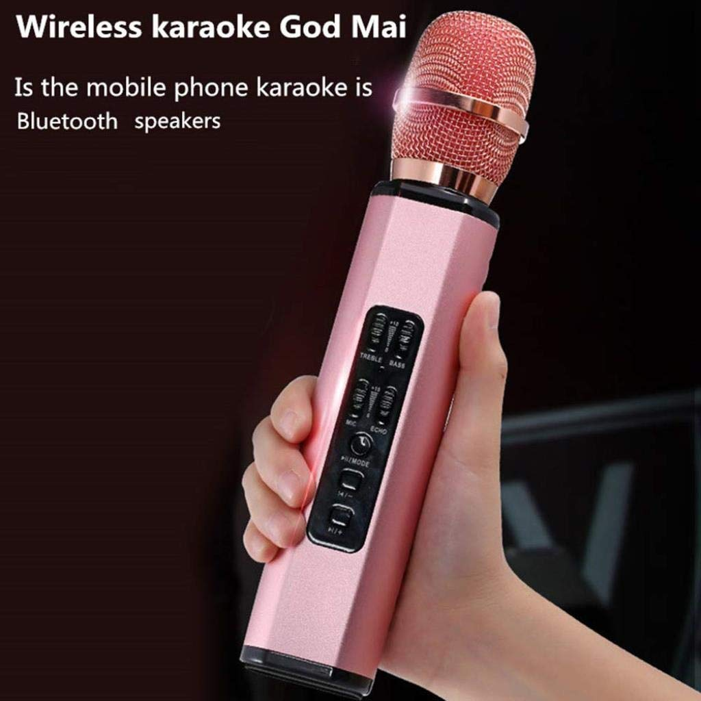 Rsiosle Profession Wireless Bluetooth Karaoke Microphone, Record Music Metal MIC Bluetooth Speaker Compatible with Android and iOS ( Color : Pink ) by Rsiosle (Image #4)