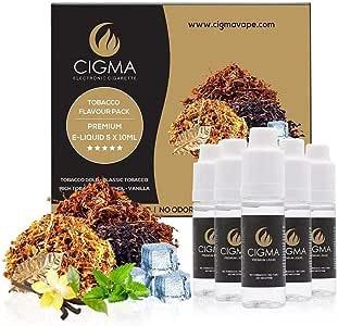 CIGMA 5 x 10 ml E-líquido Mezcla de sabor de tabaco - Tabaco clásico - Tabaco dorado - Tabaco intenso - Menta - Vainilla - Hecho para cigarrillos electrónicos y E Shisha - Calidad premium