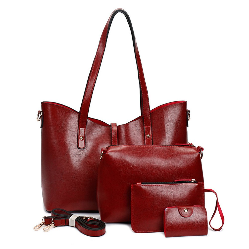Leather Tote Bag for Women Purses Set Large Red Shoulder Bags 4pcs Top Handle Satchel Handbags (Red-2)