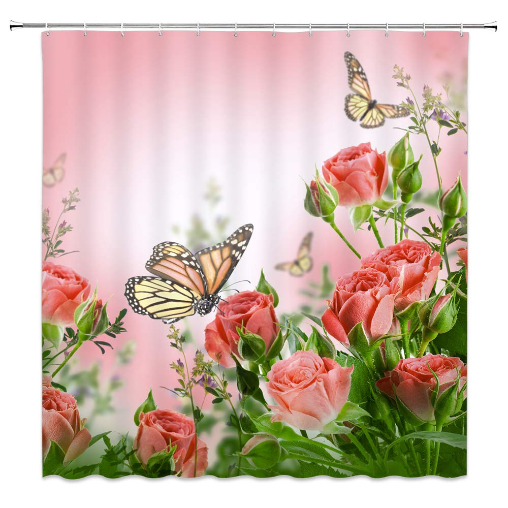 AMFD Flower Butterfly Shower Curtain Pink Romantic Rose Insect Wings Dream Blush Plant Spring Summer Bathroom Curtains Decor Polyester Fabric Waterproof 70 x 70 Inches Include Hooks by AMFD