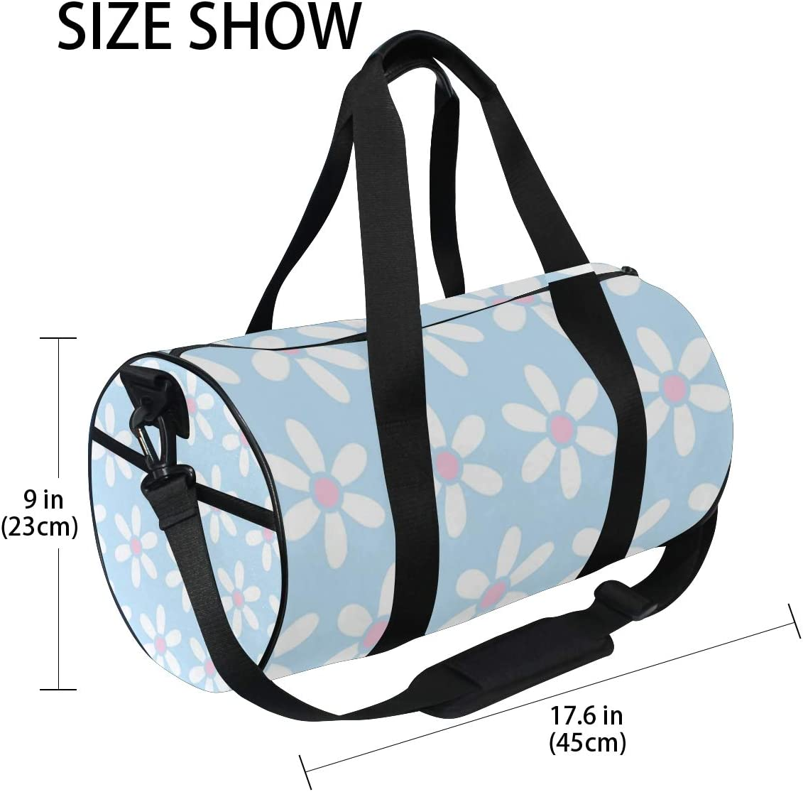 MALPLENA Adorable Daisy Pattern Drum gym duffel bag women Travel Bag