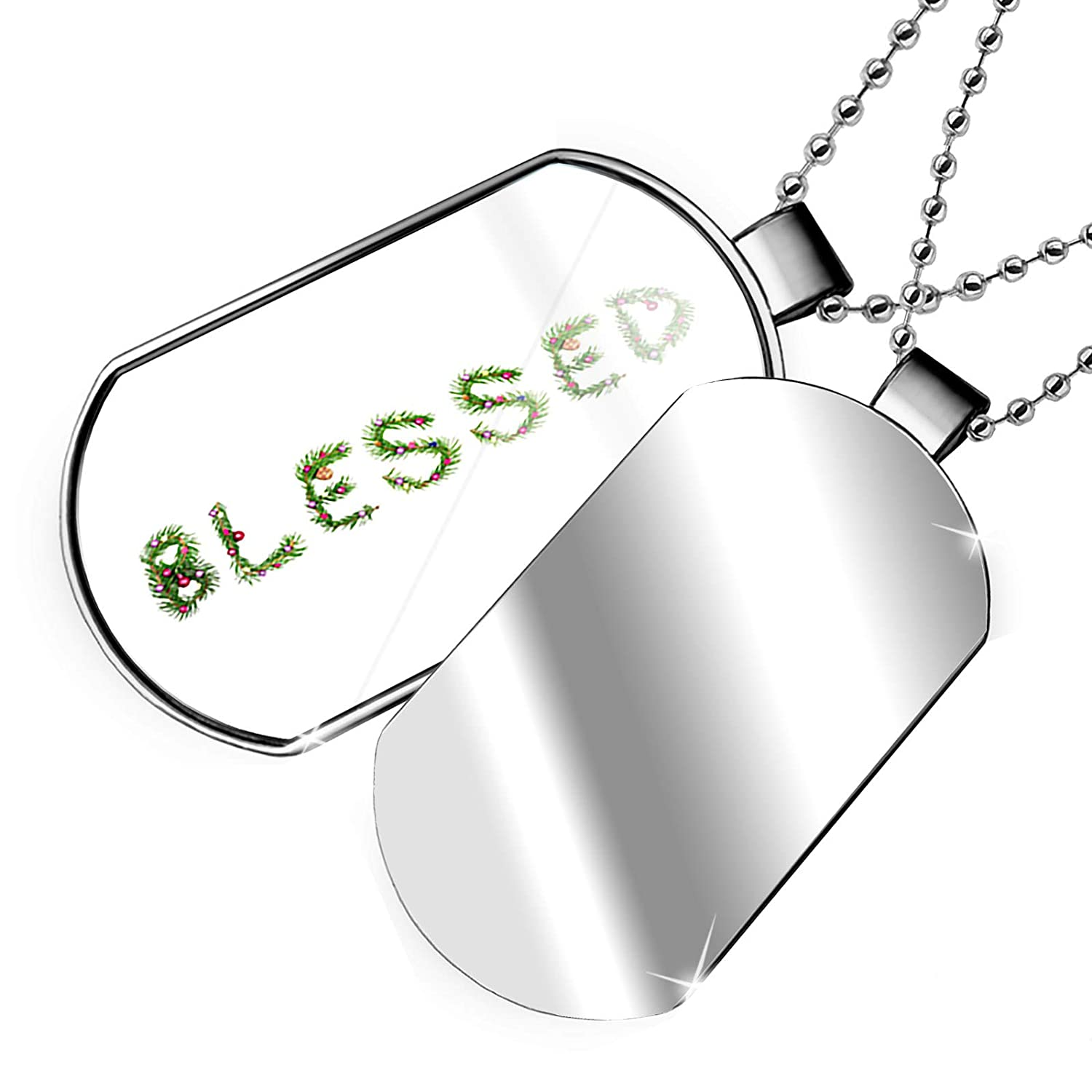 NEONBLOND Personalized Name Engraved Blessed Christmas Tree Branch Dogtag Necklace