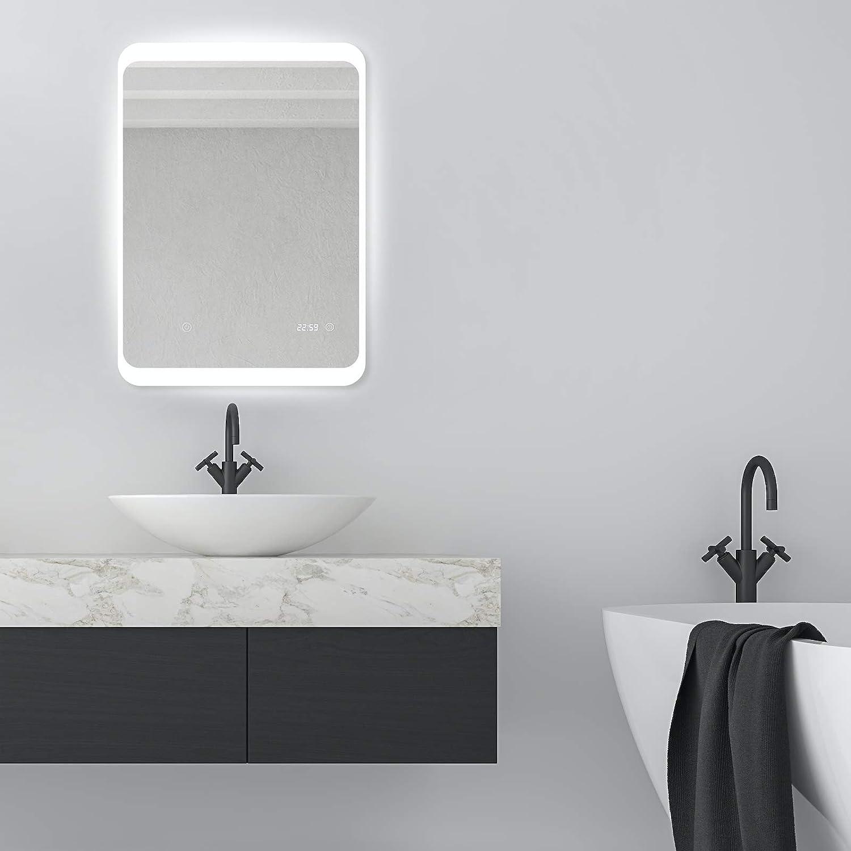 50 x 70cm AJ34 Pandafan LED Badspiegel 50x70cm Beleuchteter mit digitaler UHR Badezimmerspiegel Kaltwei/ß Licht LED-Beleuchtung Wandspiegel Touch Sensor energiesparend Energieeffizienzklasse A