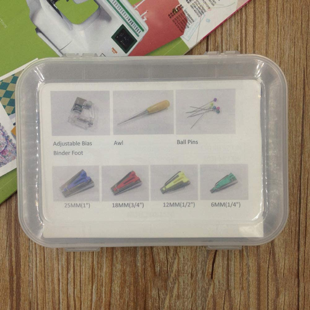 liuqingwind 16Pcs//Set Fabric Bias Tape Maker Awl Presser Foot Tools Kit for Sewing Quilting Fabric Bias Tape Maker Patchwork Bias Binding Tape Crafts Sewing Tool 1