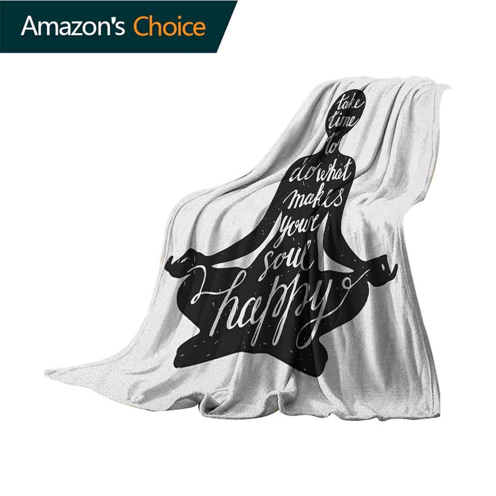 Yoga Winter Warm Blanket,Black Silhouette with Quote About Time and Soul Inspiration Happiness Practice Cozy Blanket for Couch Sofa Bed Beach Travel,30'' Wx50 L Black and White