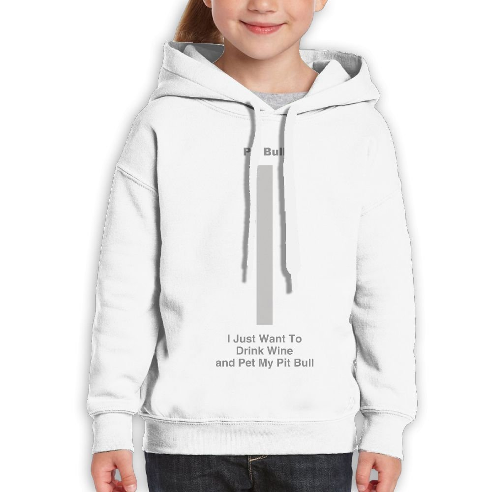 RWEA I Just Want To Drink Wine and Pet My Pit Bull. Girls Classic Vintage Cool Hoodies Casual Clothing