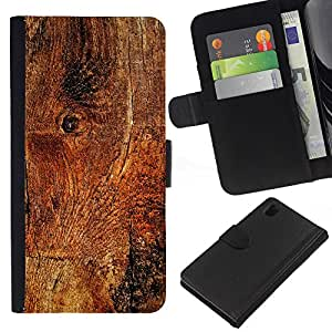 "Be-Star la tarjeta de Cr¨¦dito Slots PU Funda de cuero Monedero caso cubierta de piel Para Sony Xperia Z1 L39 ( Estructura de madera de la textura del material Marr¨®n Naturaleza"" )"