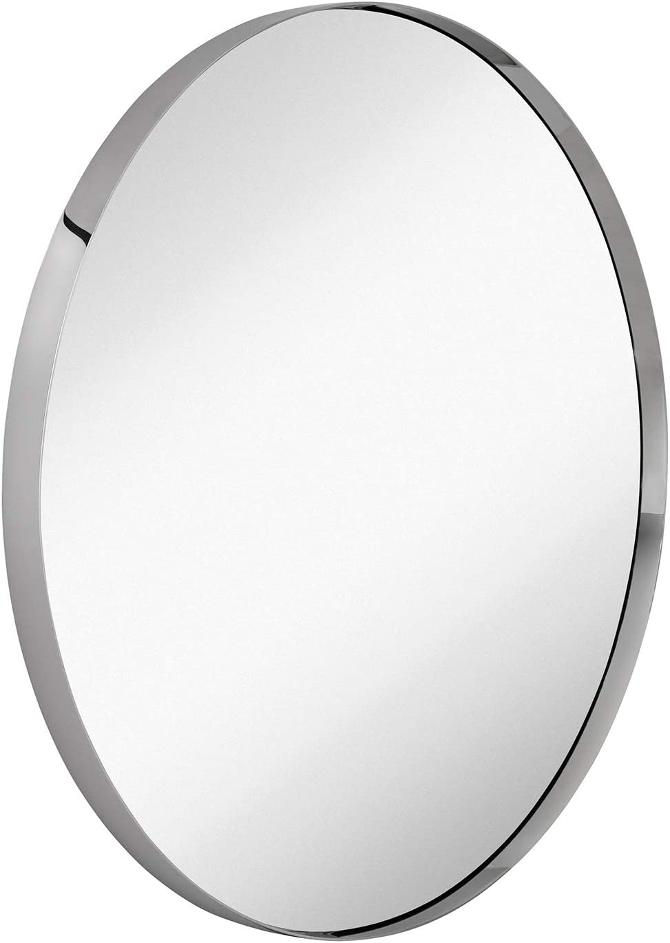 Hamilton Hills Contemporary Polished Metal Silver Circle Wall Mirror Glass Panel Silver Framed Rounded Circle Deep Set Design 35 Round