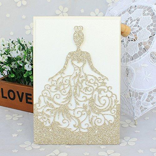 Exquisite Wedding Invitations - 50 Pcs Exquisite Wedding Invitations Cards Laser Cut Lace and Hollow Pattern Bride Invitations Cards for Wedding Bridal Invitation-Gold