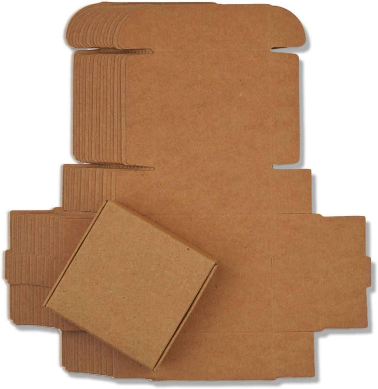 10pcs / Lot 12sizes Cuadro pequeño Papel Kraft, cartón Caja de jabón Hecho a Mano de Color marrón, Caja de Regalo de Papel del Arte Blanco, Negro joyero Embalaje, Papel Kraft, 5.5x5.5x2.5cm: