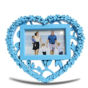 BlankLeaf 1 Photos Family Collage Heart Shape Photo Frame - Frame Size: 10.5x9 Inches - Sky Blue