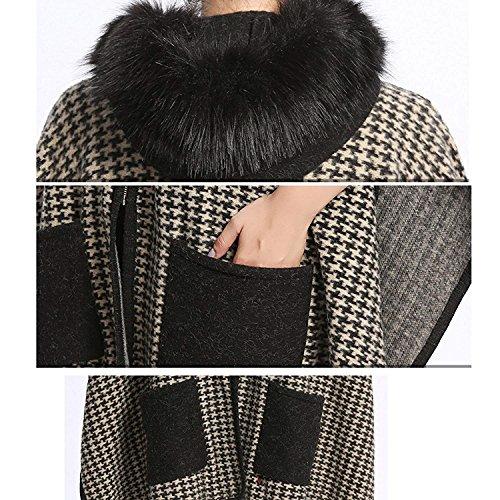 Abrigos Battercake Vintage Elegantes Sintético Moda Chal Otoño Chaqueta Hoystooth Mujer Capa Outerwear Piel Mujeres Invierno Colour Casuales Cremallera XrrpSaz