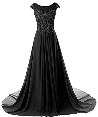 0f193c4707b ASBridal Evening Dresses Long Lace Prom Dress Chiffon Formal Party Gowns  Cap Sleeve Black US2