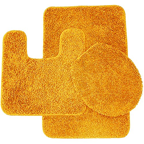 Sweet Home Collection 3 Piece Shag Bathroom Rug Set Bath Mat, Contour & Seat Cover, Orange ()