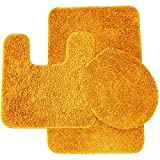 Orange Bathroom Rug Sets Sweet Home Collection 3 Piece Shag Bathroom Rug set Orange Bath Mat, Contour & Seat Cover,,Orange