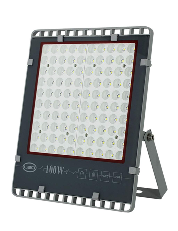 Faretto Led Esterno,LED Outdoor surbrillance concentrant imperméable à l'eau Protection contre la foudre Projecteur carré (Farbe   Warmes weißes Licht-100W)