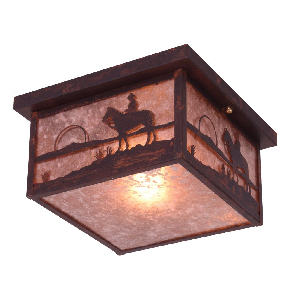 Old Iron Finish Steel Partners Inc - DROPSHIP Steel Partners Lighting 9925-OI COWBOY SUNSET Squaroka Ceiling Mount with Amber Mica Lens
