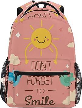 Mochila Escolar de Gran Capacidad con Texto en inglés Dont Forget to Smile School, Ideal para Viajes, para Mujeres, Hombres, niñas y niños: Amazon.es: Equipaje