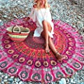 Round Beach Towel, 145cm(57 inches) Thin Beach Pool Throw Tapestry Home Shower Towel Blanket Table Cloth Yoga Mat