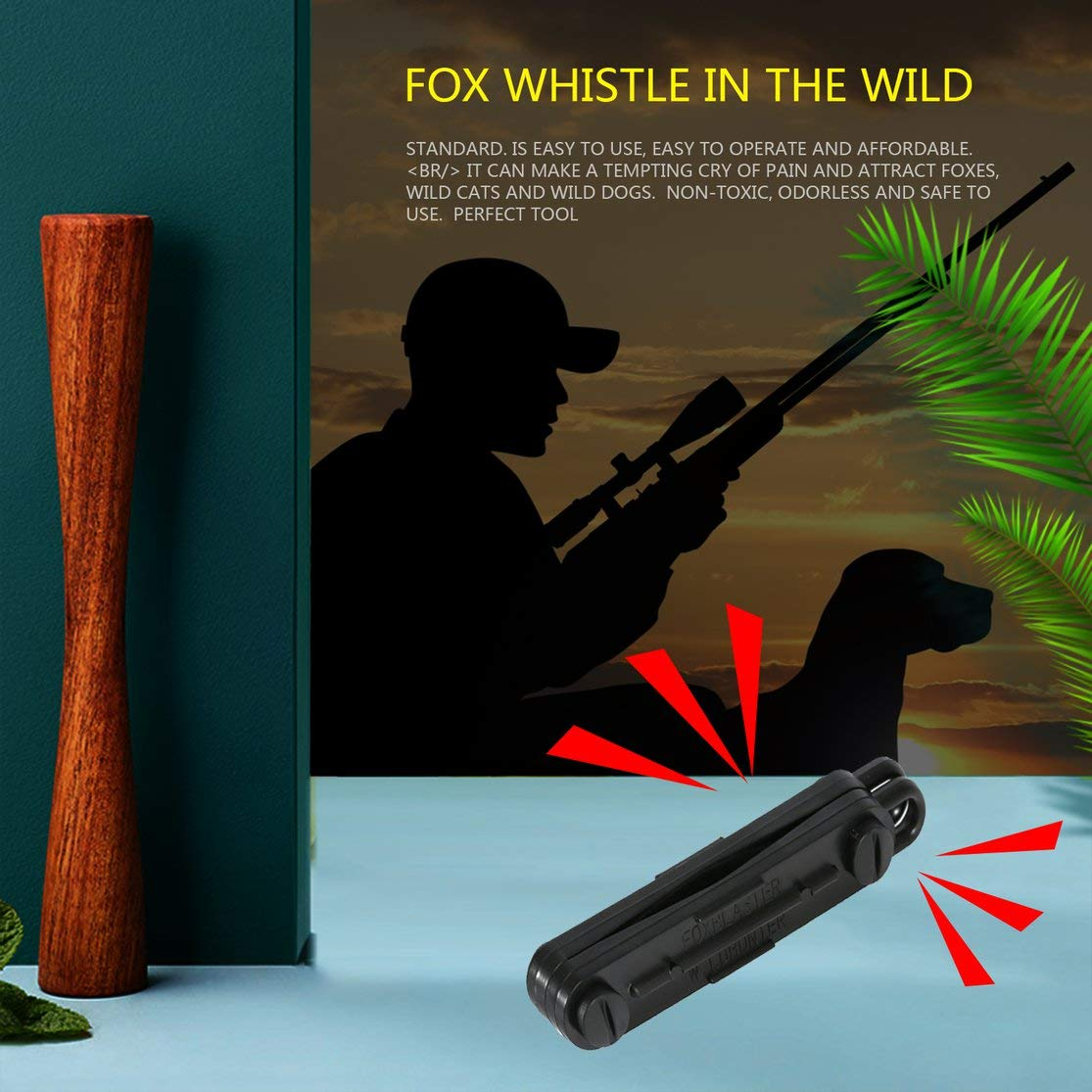 CHANNIKO-FR Black Outdoor Fox Down Fox Blaster Appel Sifflet Predator Chasse Lamping Appelant Lapin Jeu Appelant Animial