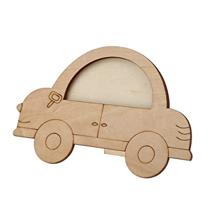 Amazon.com: Fityle Unfinished Wooden Car Photo Frame Picture Frame ...