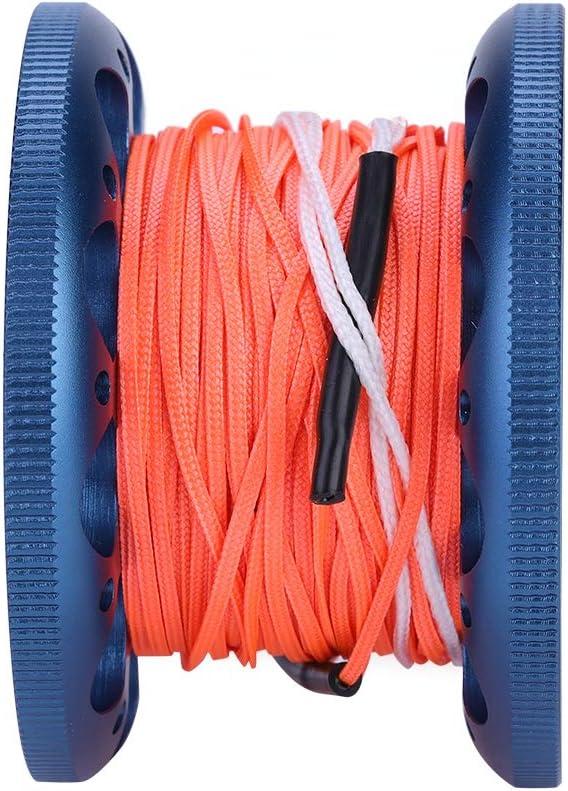 4 Farben Qualit/ät 30 MT Mini Tauchen Aluminium Reel Spool Line mit Edelstahl Snap Bolt Haken Dilwe Tauchen Reel Linie