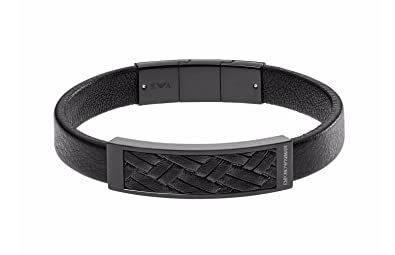 5f38794e8 Emporio Armani Black IP Plaque with Braided Leather Inlay Bracelet EGS2386  in Gift Box: Amazon.co.uk: Jewellery