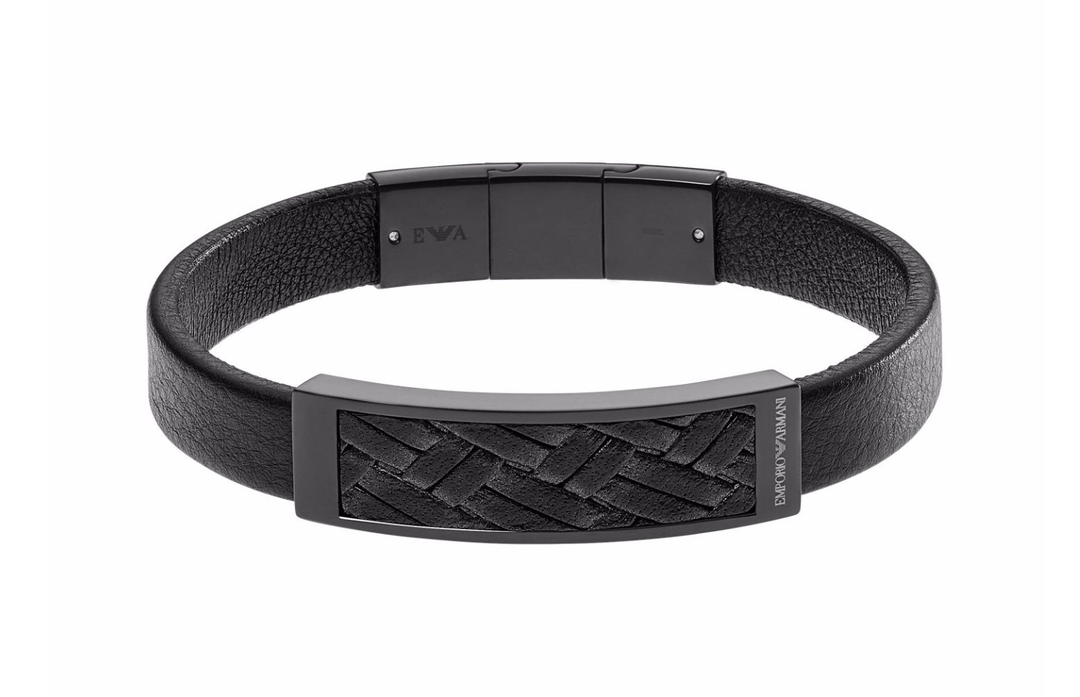 Emporio Armani Black IP Plaque with Braided Leather Inlay Bracelet EGS2386 in Gift Box