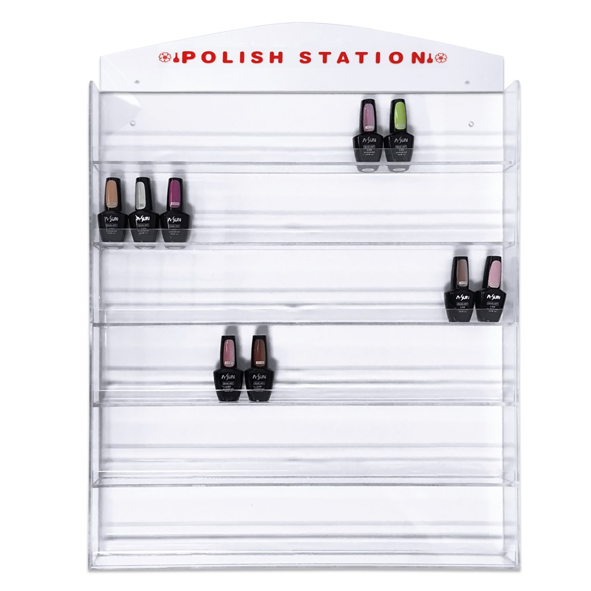Nail Polish Wall Mounted Organizer Display Transparent Clear Wall Rack – Hold up to 126 bottles Famous USA Fuji Brand Perfect for Birthday Christmas Valentine Gift