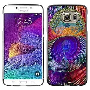 FECELL CITY // Duro Aluminio Pegatina PC Caso decorativo Funda Carcasa de Protección para Samsung Galaxy S6 SM-G920 // Feather Colorful Vibrant Neon