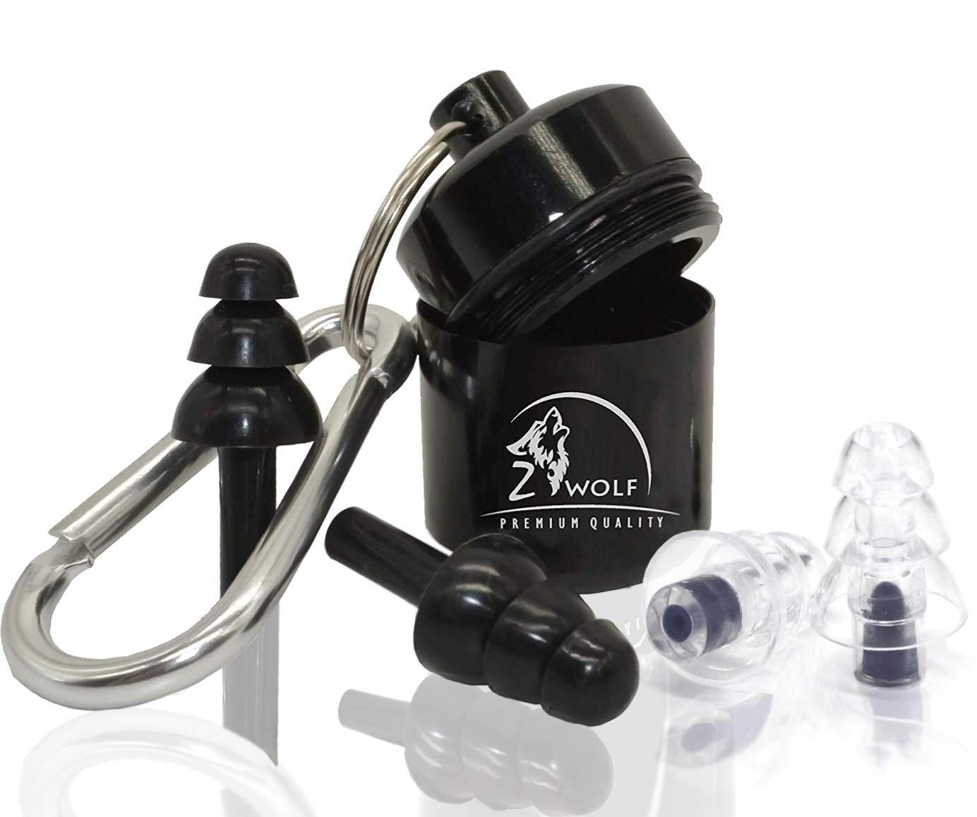 Zwolf Ear Plugs Noise Reducing Set Reusable Earplugs Sleeping and Other Activities (Black)