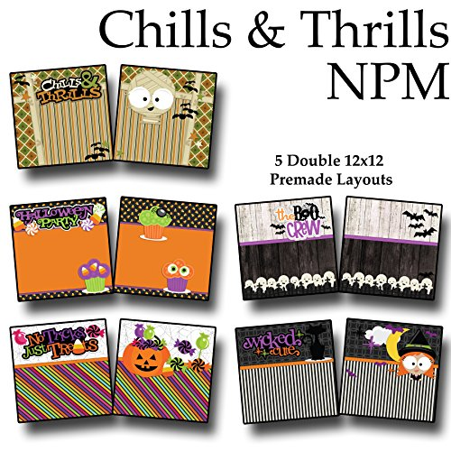 CHILLS & THRILLS Non-Photo-Mat Scrapbook Set - 5 Double Page Layouts -