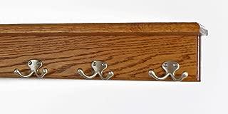 "product image for Oak Shelf Coat Rack with Satin Nickel Double Style Hooks (Chestnut, 16"" with 3 hooks)"