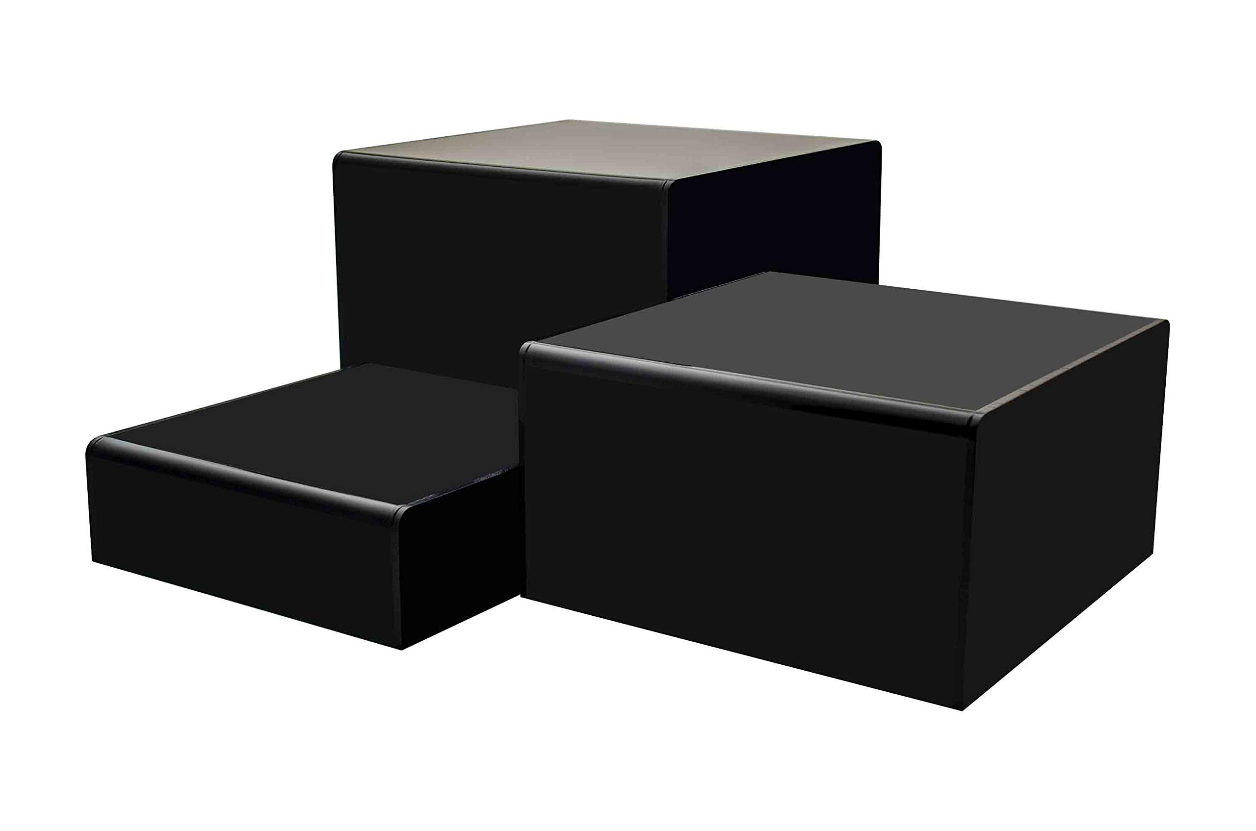 Marketing Holders Cube Display Nesting Risers Showcase Collectables Pedestald for Trinkets Figurines Trophy Dolls Hollow Bottoms Acrylic Black Pack of 3 by Marketing Holders (Image #1)