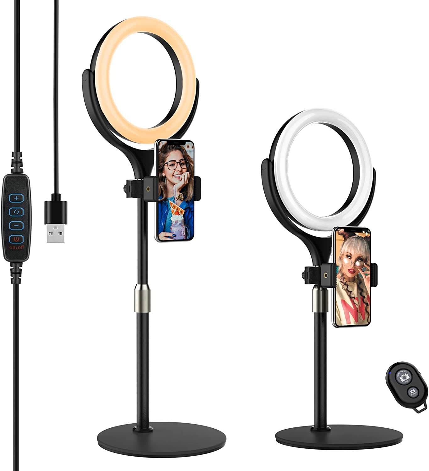 Selfie Ring Light with Adjustable Phone Holder&Stable Disc Base, Yoozon Dimmable Led RingLight with 3 Light Modes&10 Brightness for TikTok YouTube Video Shooting,Makeup,Photography,Live Streaming
