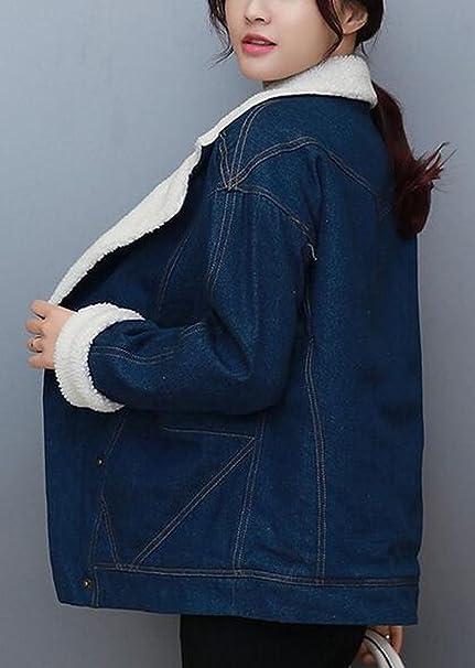 54a2b37dd8b Jaycargogo Womens Vintage Thick Plus Velvet Fold-Collar Denim Jackets As  Picture L