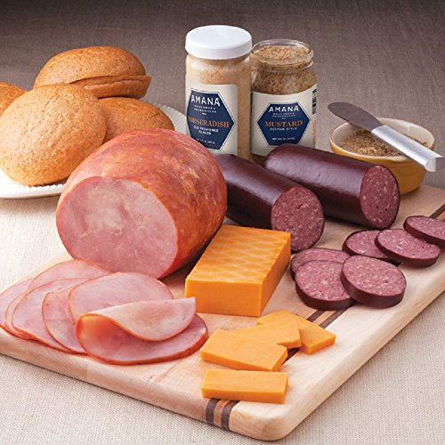 Gourmet Foods, Meats, Sandwich Fixin's, 2-3 lb. Smoked Boneless Ham 10 oz. Beef Thuringer 10 oz. Beef Salami 7 oz. Smoked Cheddar Cheese 8.5 oz. German-Style Mustard 8 oz. Horseradish by Unknown