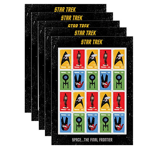 20 Star Trek USPS Forever First Class Postage Stamps Enterprise classic TV (5 sheets of 20 - Times Class First Usps