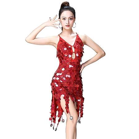 0aed86d5f27f8 Women Adult Shiny Dance Party Dress, Women Dancewear Backless Sleeveless  Circle Coins Sequin Tassels Ballroom