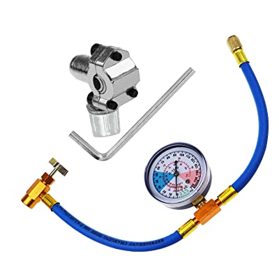 BPV31 Piercing Valve for Bullet with R134a Refrigerant Charging Hose,Refrigerant Can Tap with Gauge, R134a can to R-12/R-22 port: Home Improvement