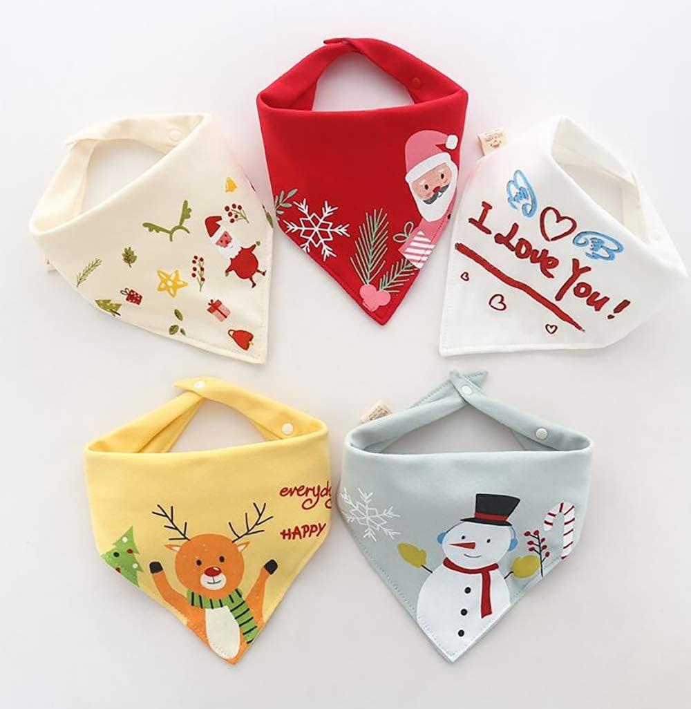 absorbentes Baberos para beb/é 5 unidades absorbentes e hipoalerg/énicos blanco Navidad