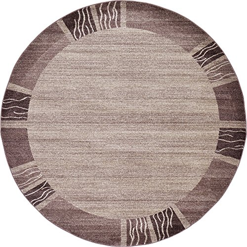 Unique Loom Del Mar Collection Contemporary Transitional Light Brown Round Rug (8' 0 x 8' 0) (8 X Rugs 8 Round Area)