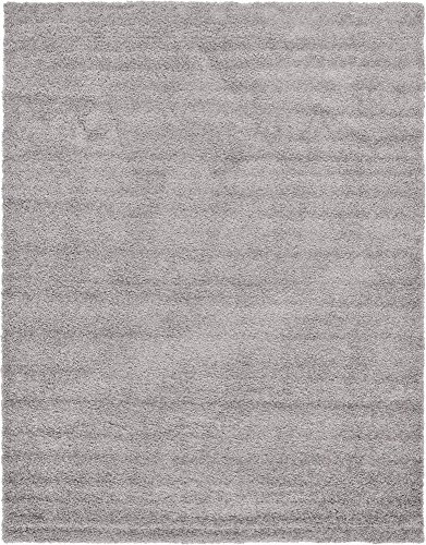 Unique Loom Solo Solid Shag Collection Modern Plush Cloud Gray Area Rug (9' 0 x 12' 0)