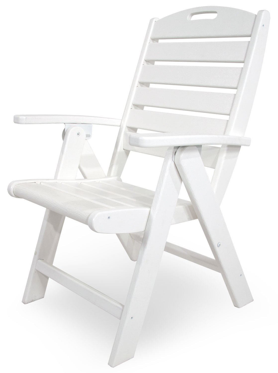 Amazon com trex outdoor furniture yacht club folding highback chair classic white patio dining chairs garden outdoor