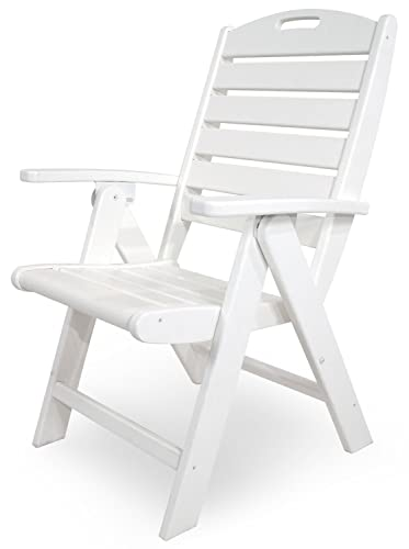 Trex Outdoor Furniture Yacht Club Folding Highback Chair, Classic White
