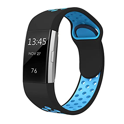 SWEES Silicone Sport Bands Compatible Fitbit Charge 2, Breathable Sport  Replacement Bands with Air Holes Small & Large (5 7
