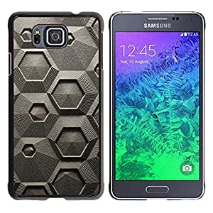 Paccase / SLIM PC / Aliminium Casa Carcasa Funda Case Cover para - Abstract Grey Art Pattern Hexagon - Samsung GALAXY ALPHA G850