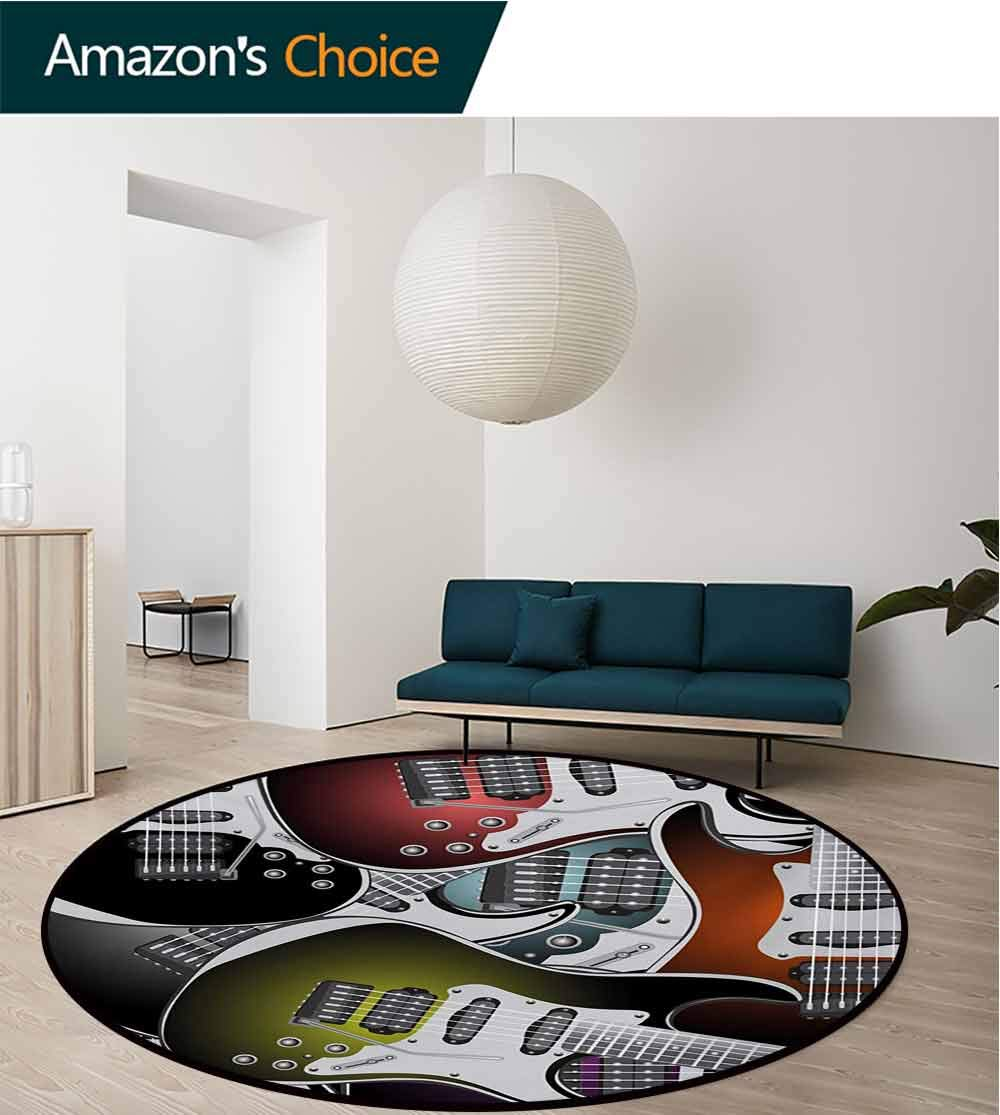 Popstar Party Art Deco Pattern Non-Slip Backing Machine Washable Round Area Rug,Pile of Graphic Colorful Electric Guitars Rock Music Stringed Instruments Floor Mat Home Decor,Diameter-47 Inch by RUGSMAT (Image #2)